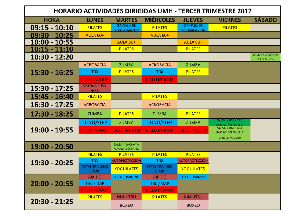 HORARIO TERCER TRIMESTRE 2017. MAYO